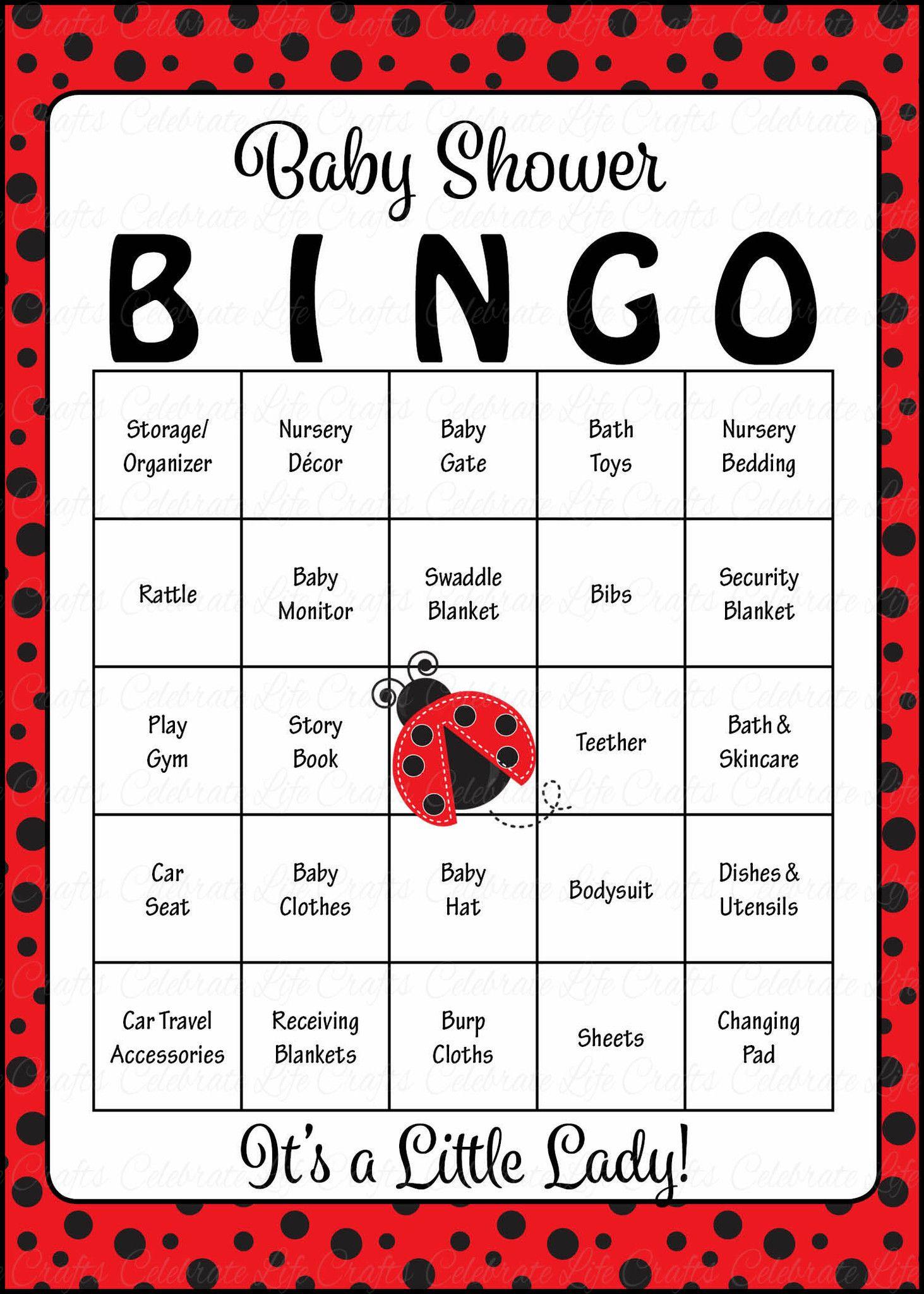 Ladybug Baby Bingo Cards