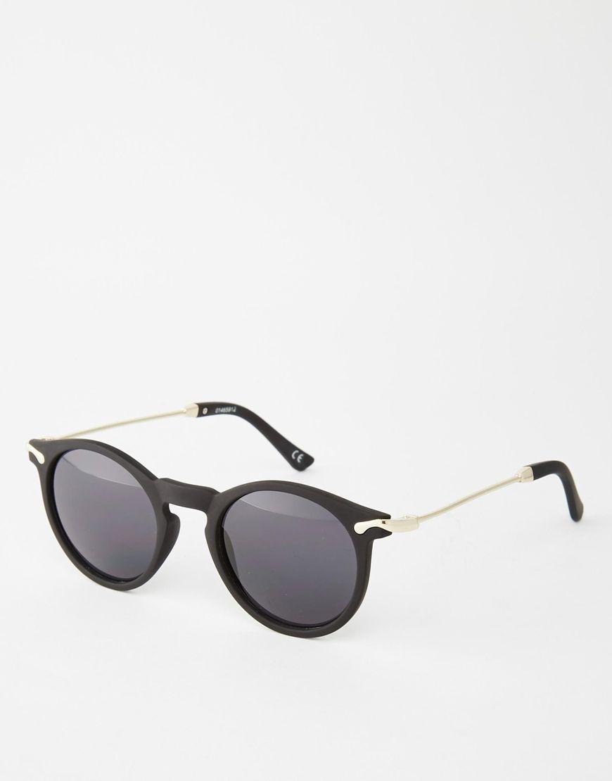 72d987dd8e Imagen 1 de Gafas de sol redondas negras con patillas de metal de ASOS