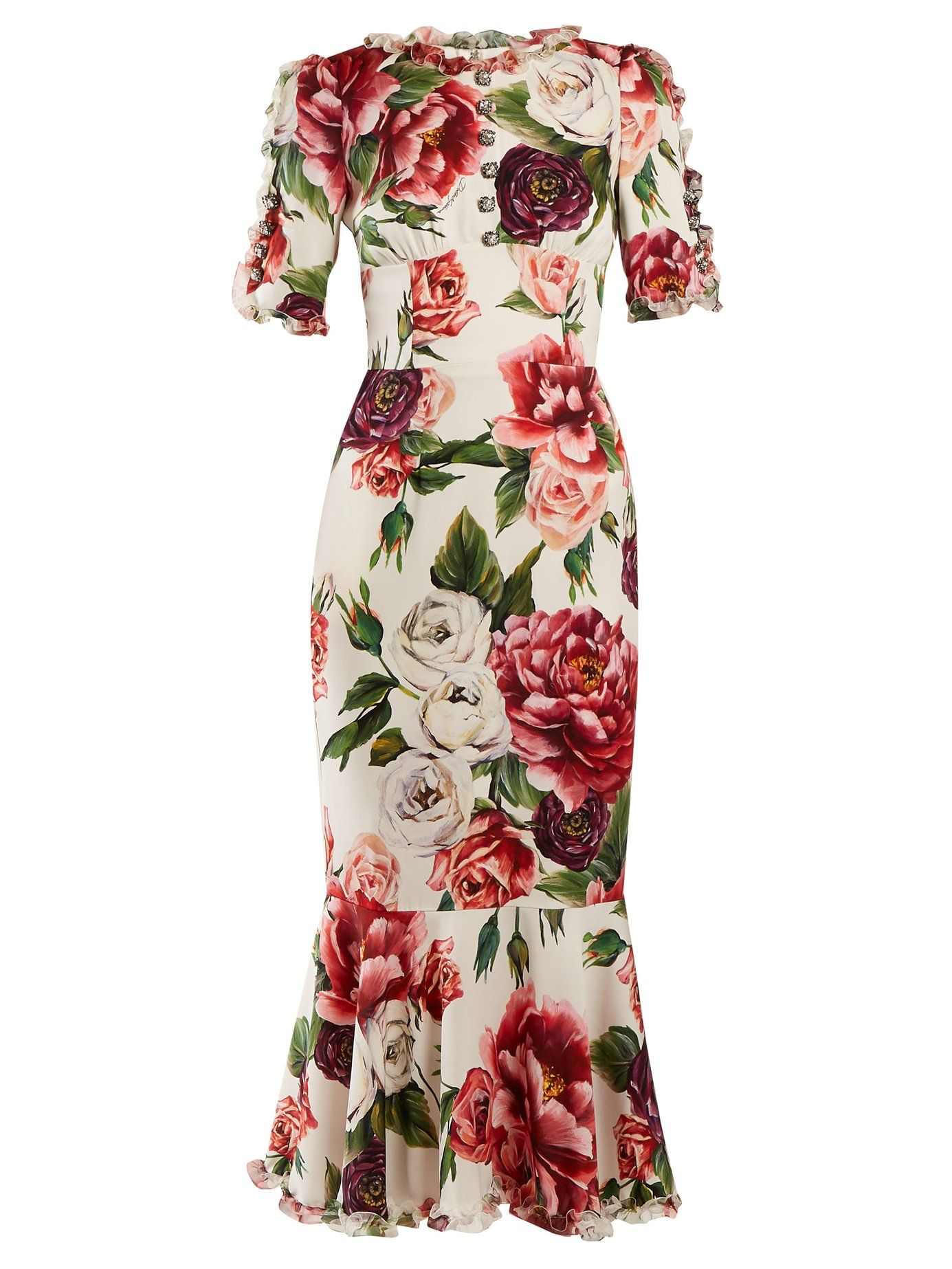 Peony-print silk-charmeuse dress   Dolce & Gabbana   MATCHESFASHION.COM US