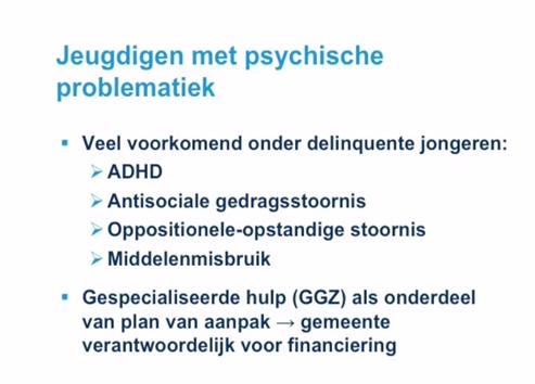Webcollege jeugdreclassering del 2. Sheet: jeugdigen met psychische problematiek.