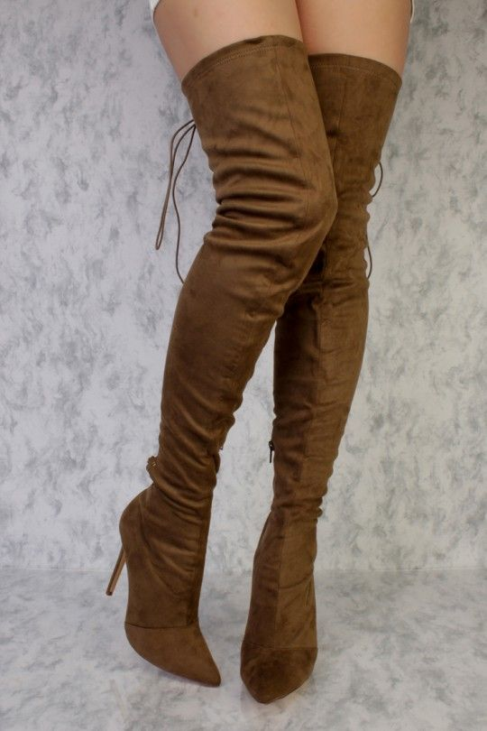 3a3edfa8fa0 Olive Back Lace Pointy Toe Thigh High Single Sole Boots Faux Suede ...