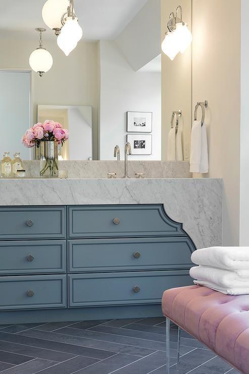 Pink and Blue bathroom natural stone decor Pinterest Carrera