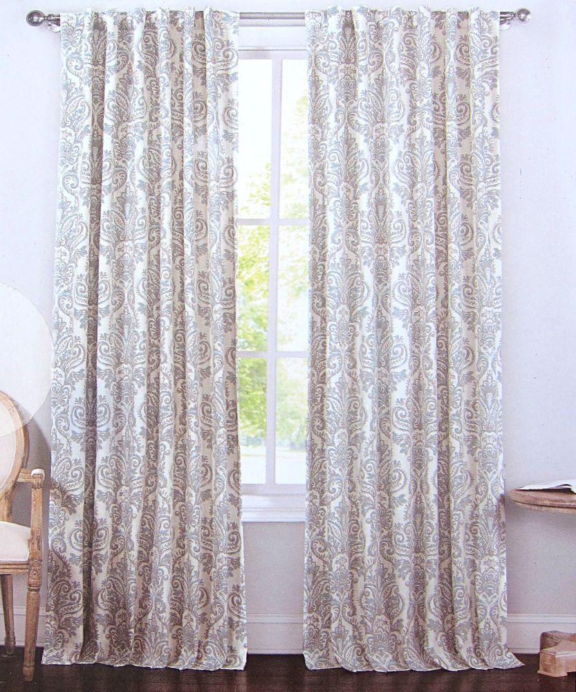 Blue contemporary curtains - Envogue Gray Blue Damask Paisley Window Curtain Panels Set Of 2 Drapes Pair 96