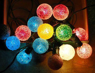 Vintage GE Lighted Ice D30 Snowball Christmas Light Bulbs String ...