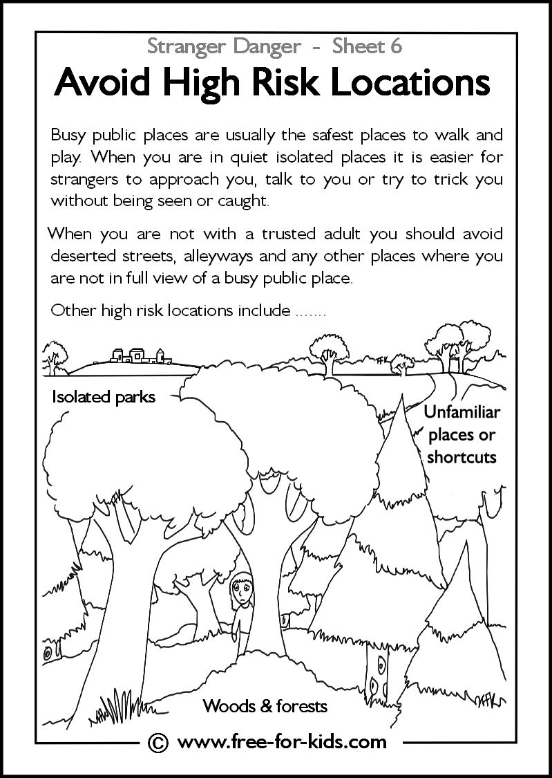 Stranger Danger Worksheets and Colouring Pages   Child safety activities [ 1125 x 799 Pixel ]