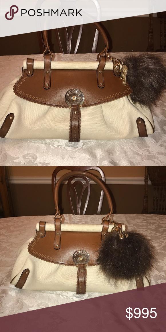 b4d398bc62 Fendi Magic Bag Canvas is a sturdy beige material