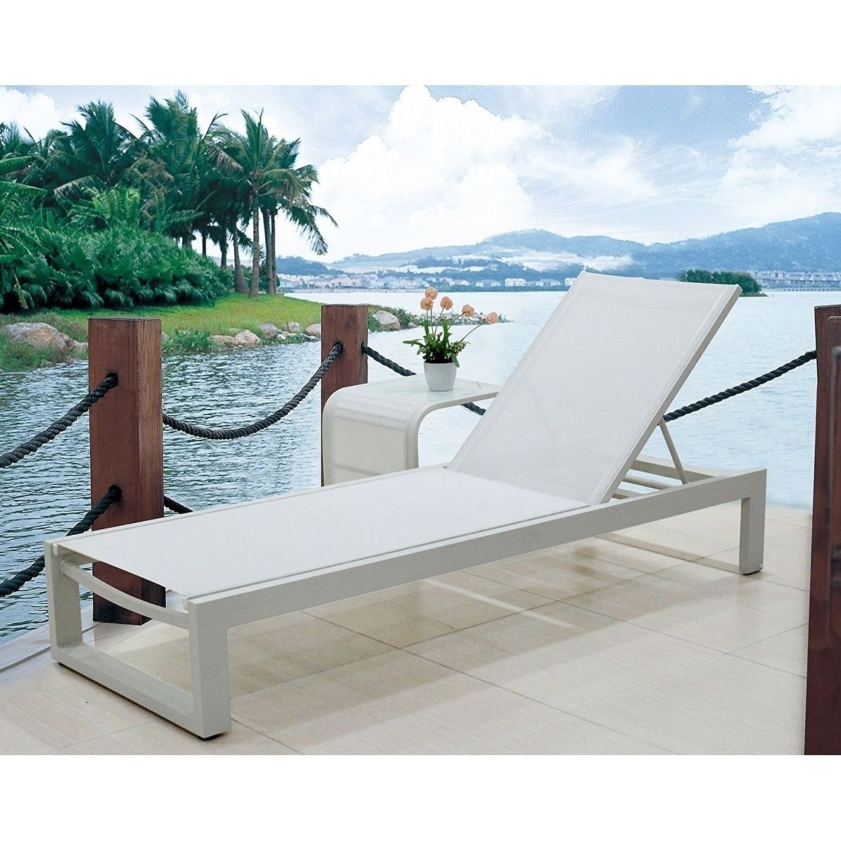 Infinity white all weather modern adjustable outdoor patio chaise lounge furniture pack of 2
