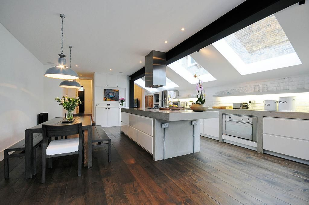 White Kitchen Extensions photo of contemporary open plan black white polished concrete