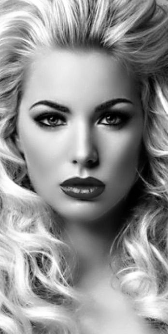 Dark Eyeshadow Bold Red Lips Black And White Portraits Cool