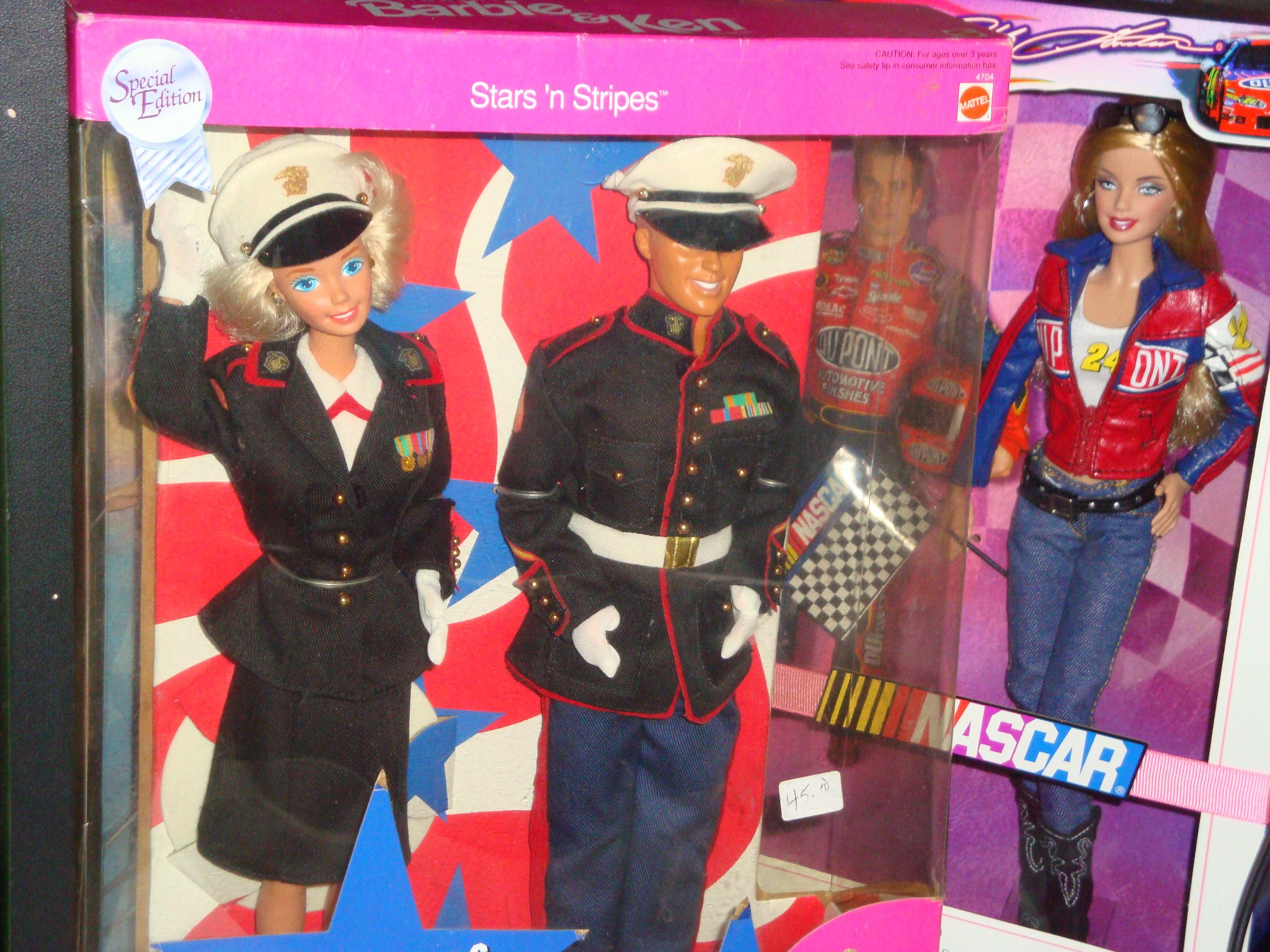 Marine Barbie & Ken + Nascar Barbie