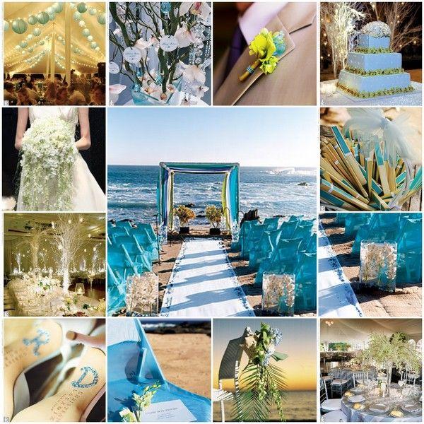 D coration de mariage th me mer bleue comme l 39 eau mariage mer pinter - Idee de theme de mariage ...