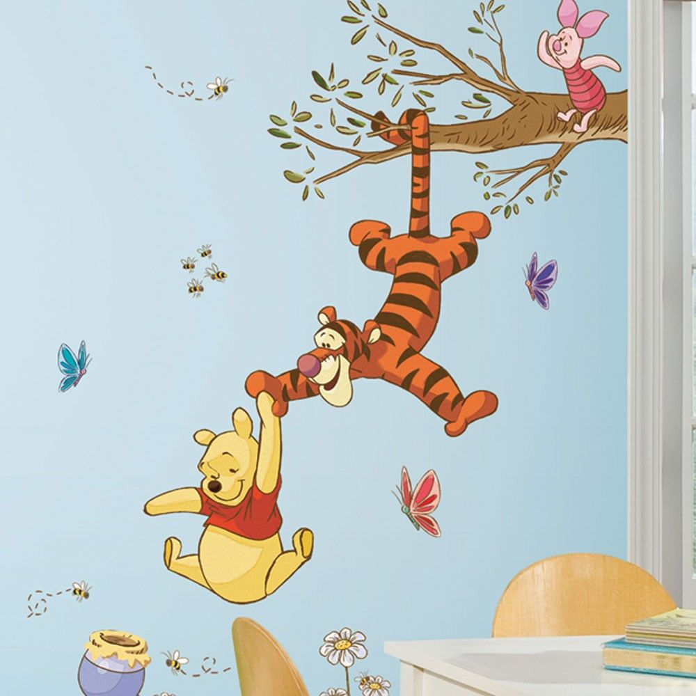winnie the pooh swinging for honey giant wall decals roommate winnie the pooh swinging for honey giant wall decals