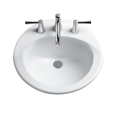 Toto Ultimate Ceramic Circular Drop In Bathroom Sink With Overflow