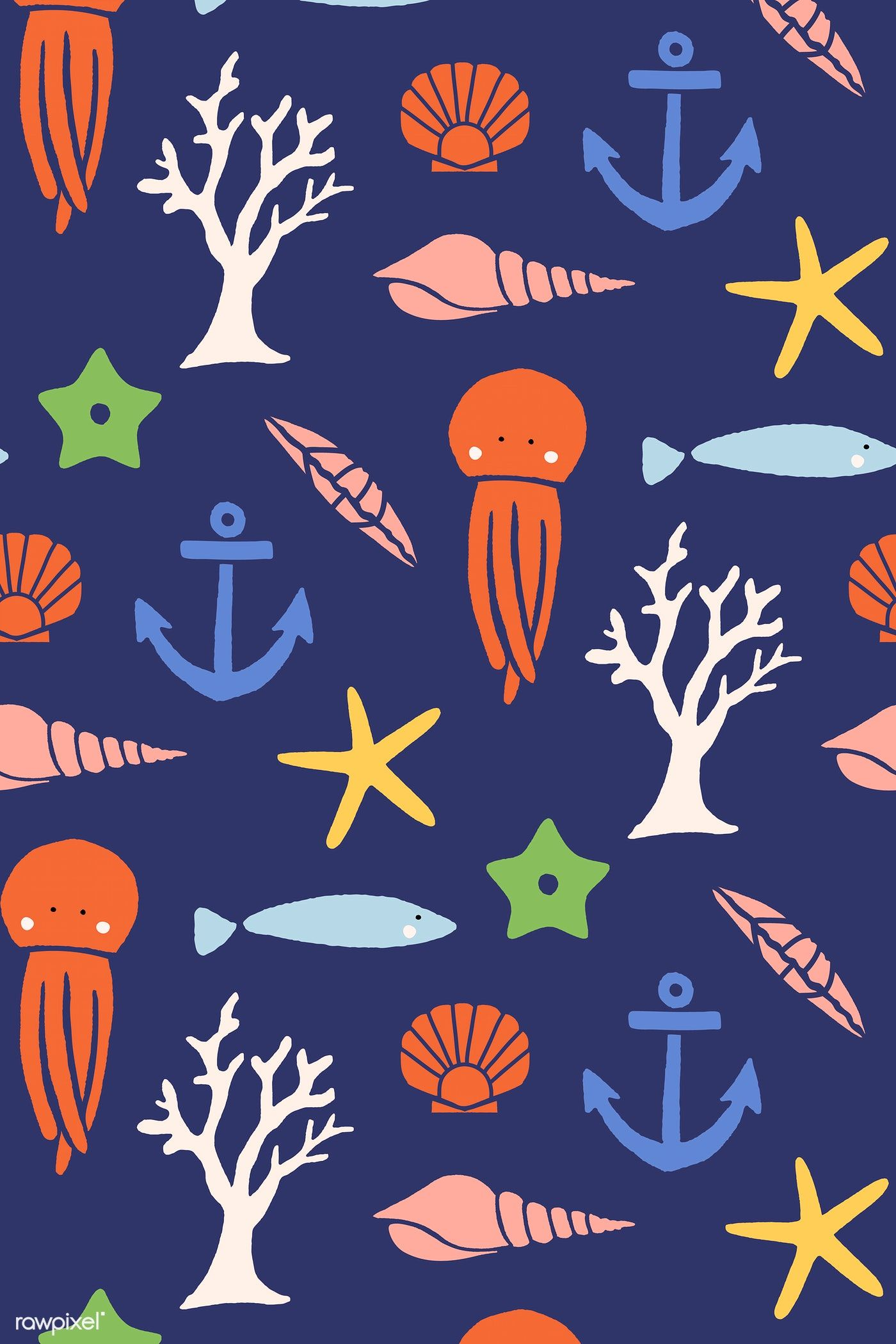 Underwater animals seamless pattern vector free image by