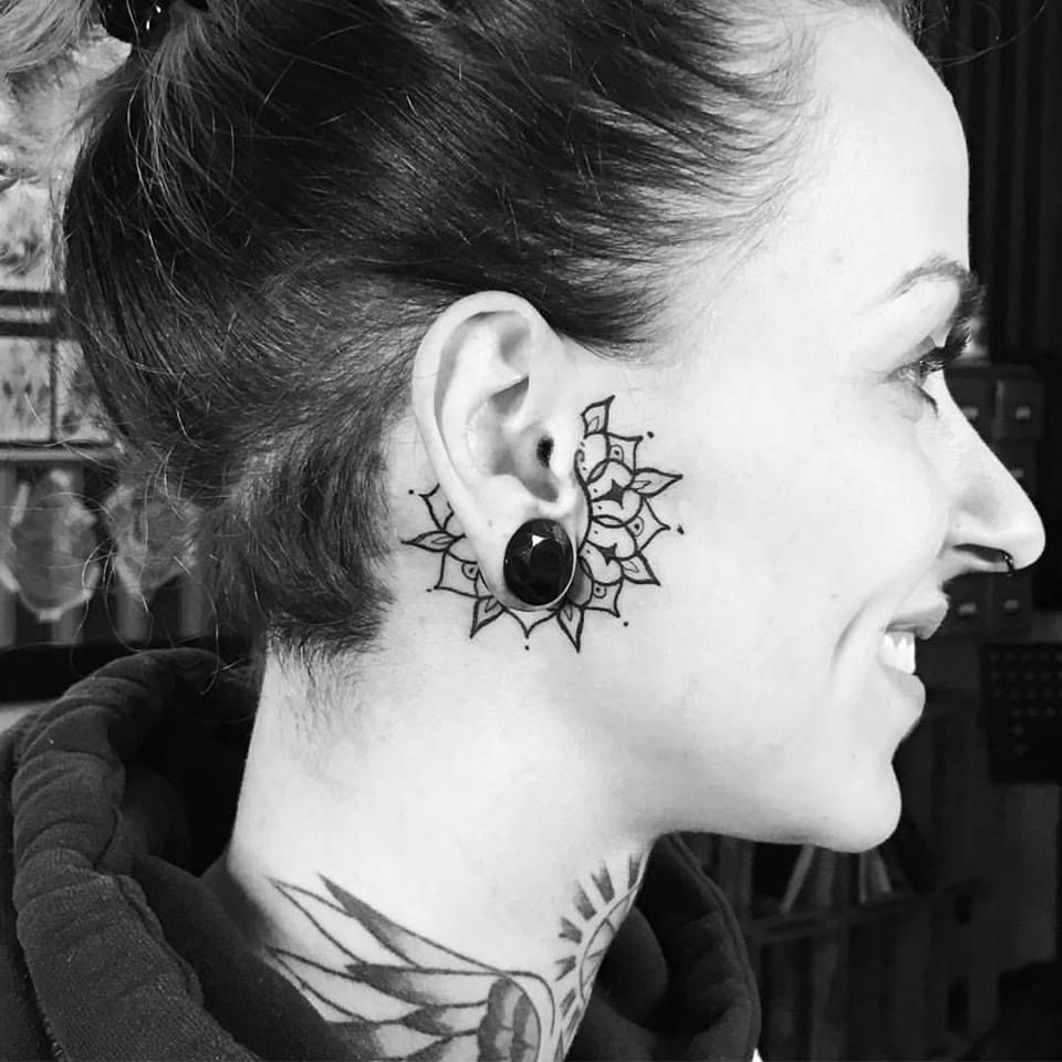 Related image Small face tattoos, Ear tattoo, Face