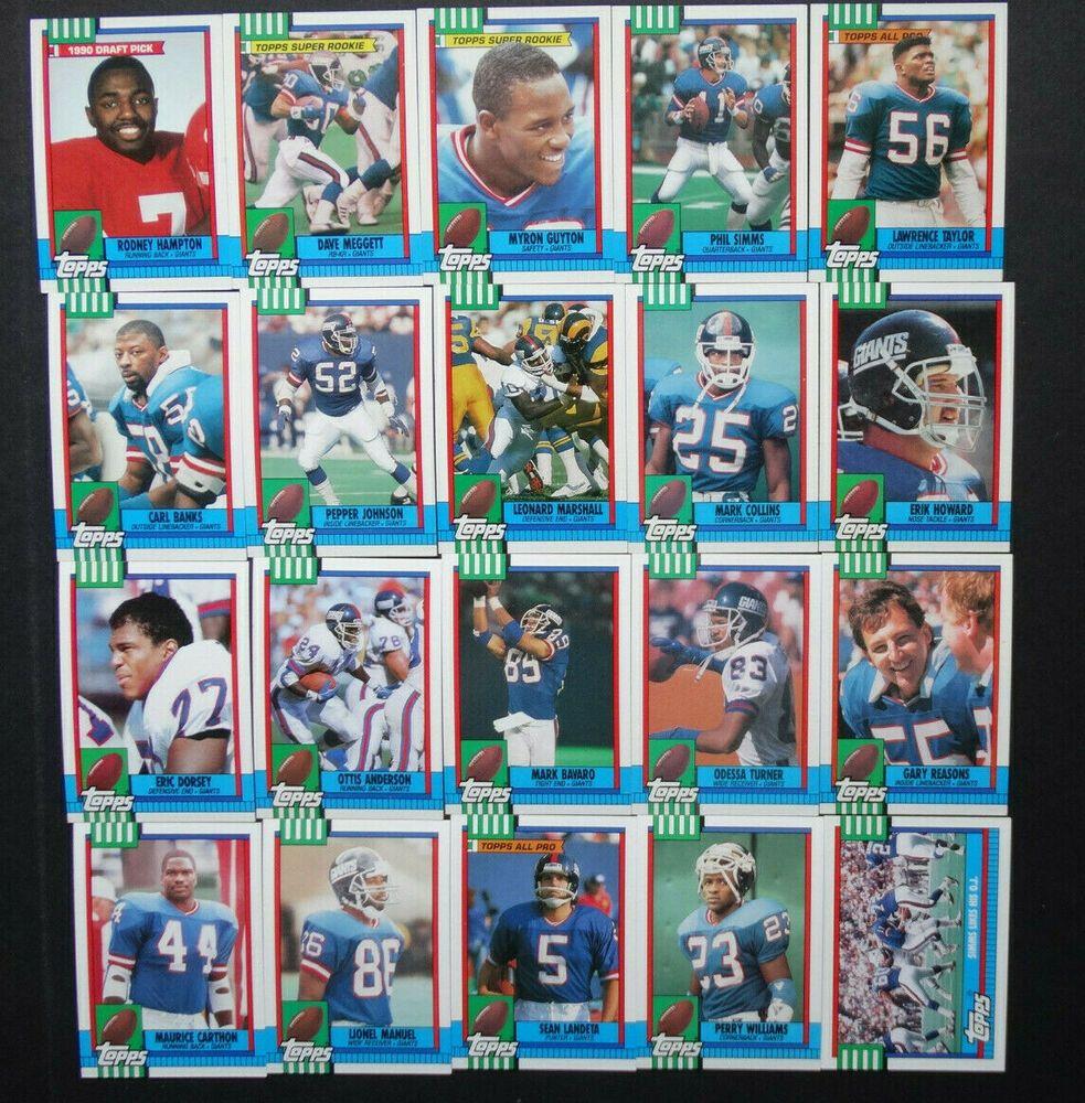 1990 topps new york giants team set 20 football cards