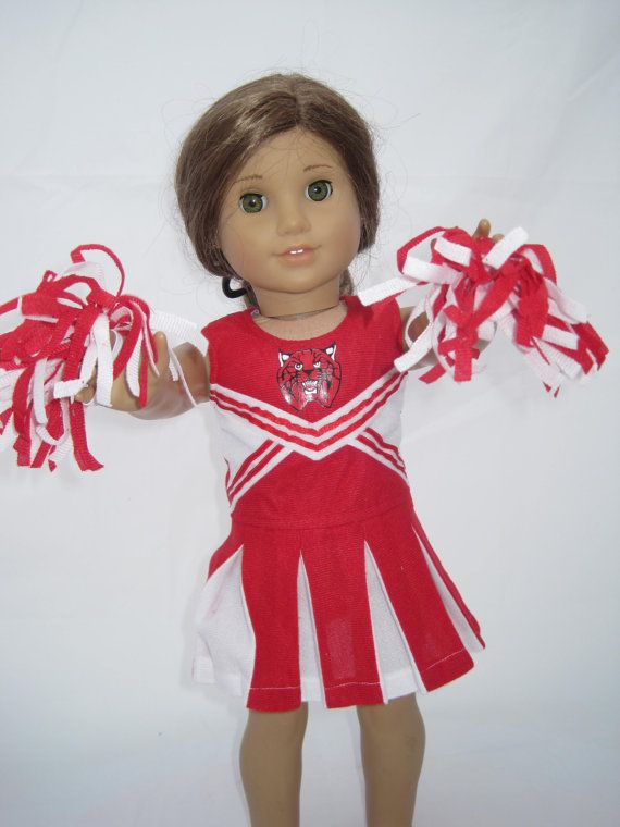 Red and White Cheerleader Outfit for 18 Inch by UniqueDollClothing, $14.50 #18inchcheerleaderclothes
