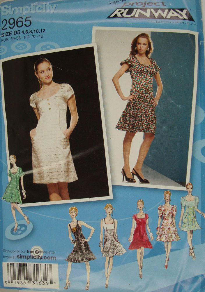 Simplicity 2965 Project Runway Empire Dress Uncut Pattern 4 6 8 10