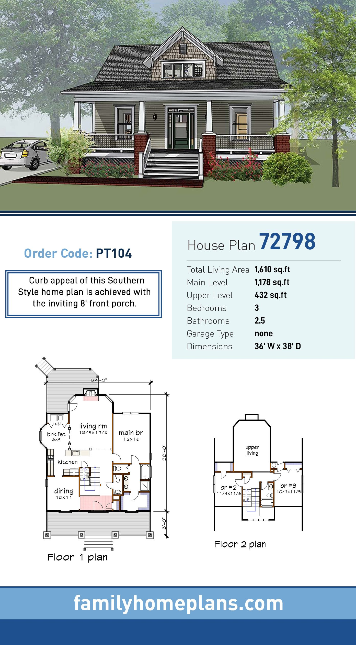 Craftsman Style House Plan 72798 With 3 Bed 3 Bath Craftsman Style House Plans Craftsman House Plans Craftsman House