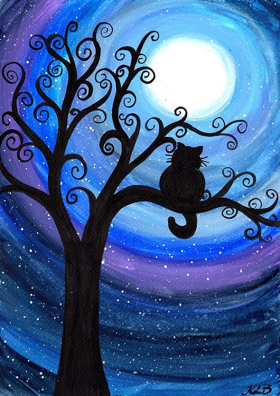 Midnight Cat Original watercolour painting cat by
