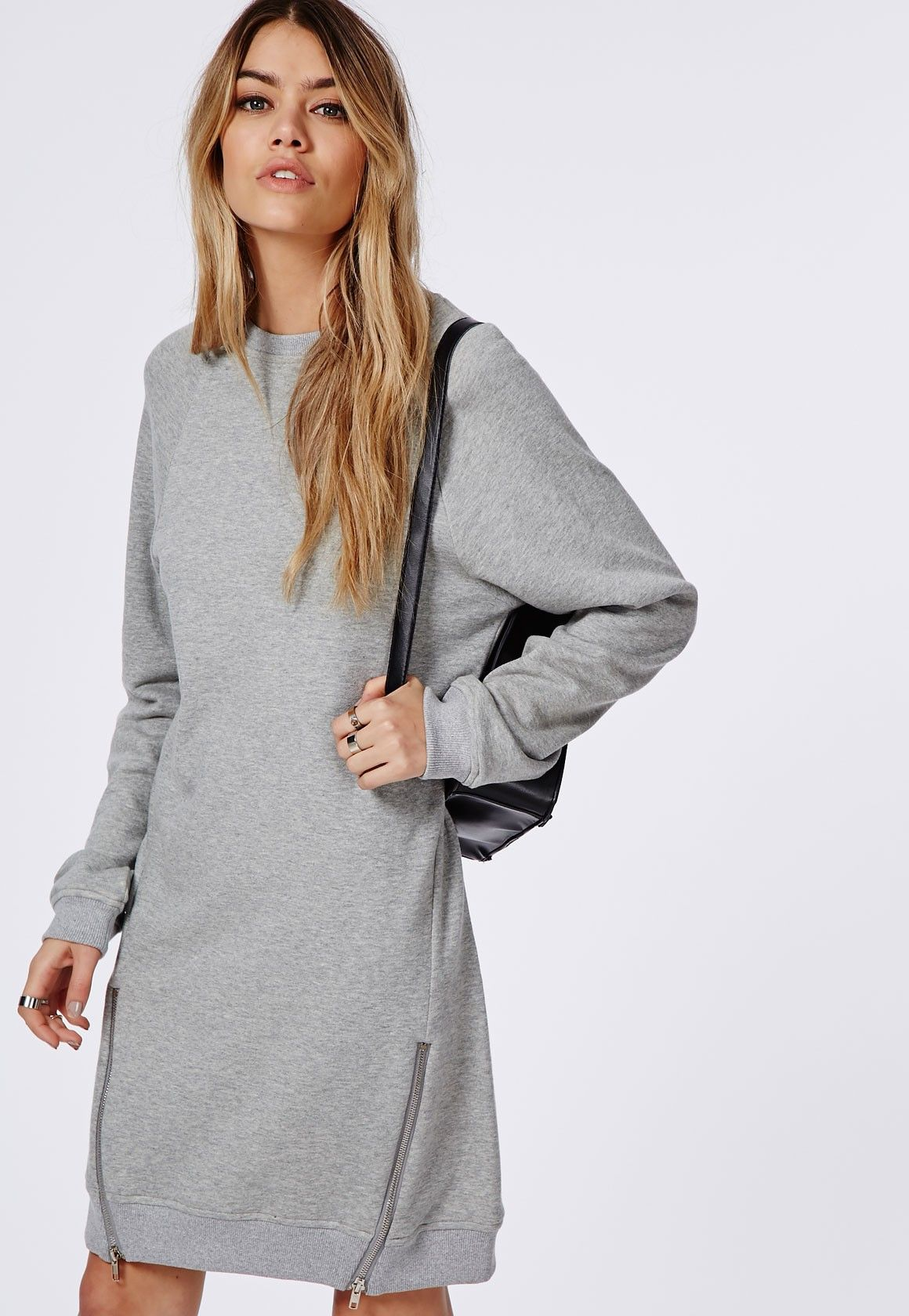Missguided - Zip Side Loopback Jersey Oversized Sweater Dress Grey ...