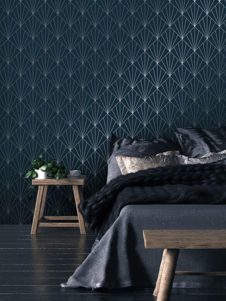I Love Wallpaper Betty Metallic Wallpaper Navy, Silver