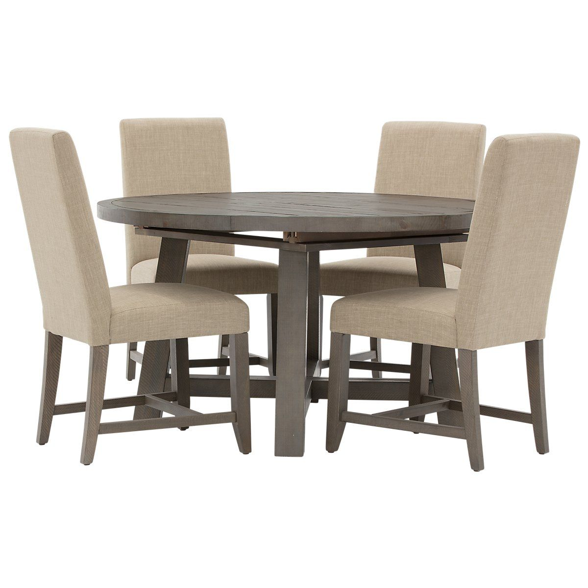 Pleasing Taryn Gray Wood Table 4 Upholstered Chairs Dining Rooms Bralicious Painted Fabric Chair Ideas Braliciousco