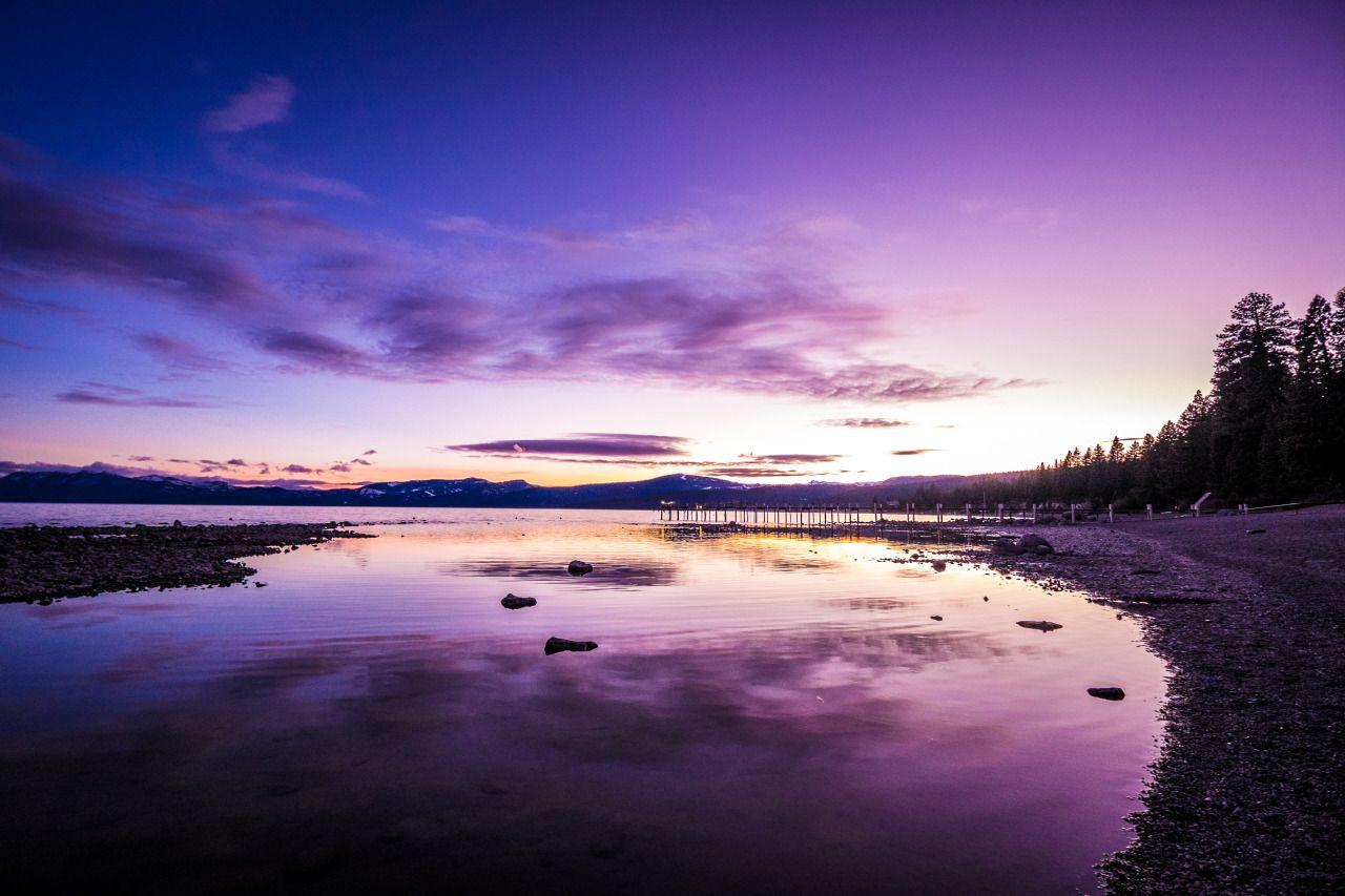 Purple sunset in Tahoe, California