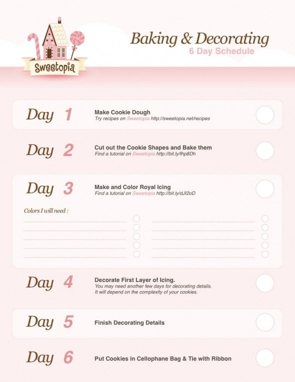 6 day plan for getting decorated cookies done