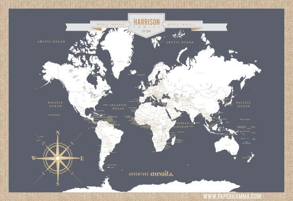 Push Pin Travel Map World Travels Map Map Art World by PaperRamma ...
