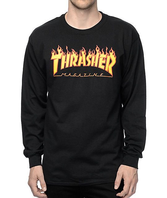 f255954c4c98 Grab a premium new look with an iconic Thrasher Skateboard Magazine flame  logo graphic on the chest of a black colorway. This long sleeve t-shirt is  perfect ...