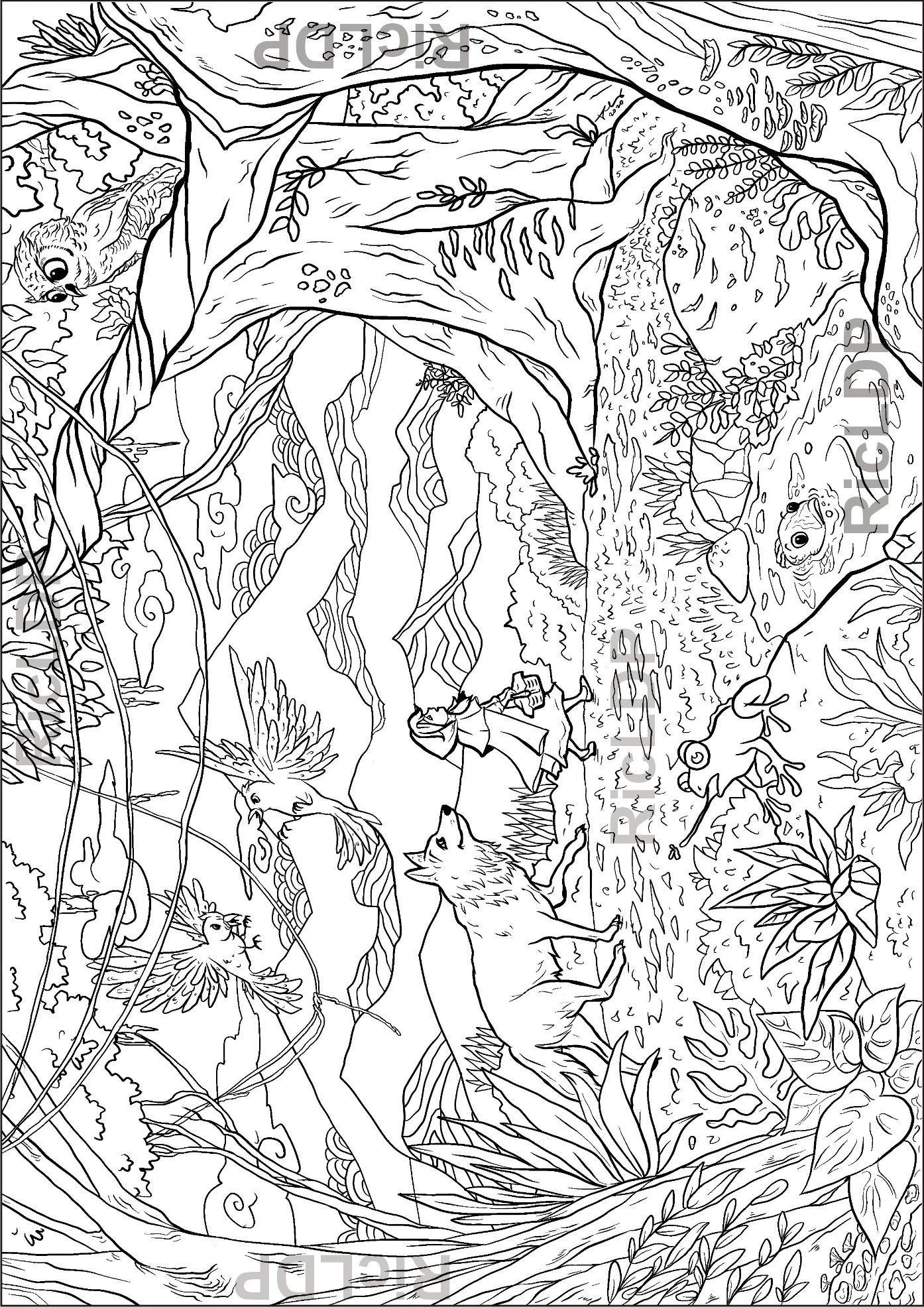 Little Girl in the Forest Coloring Page Hand Drawn