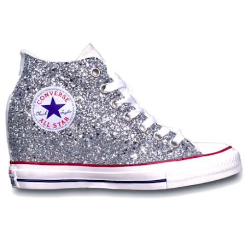 f7d6d4f72728 TAKE  10 OFF CODE  SPARKLE10 www.glittershoeoco.com Women s Sparkly Silver  Glitter Converse All Stars Lux Wedge Heel Wedding Bride Shoes