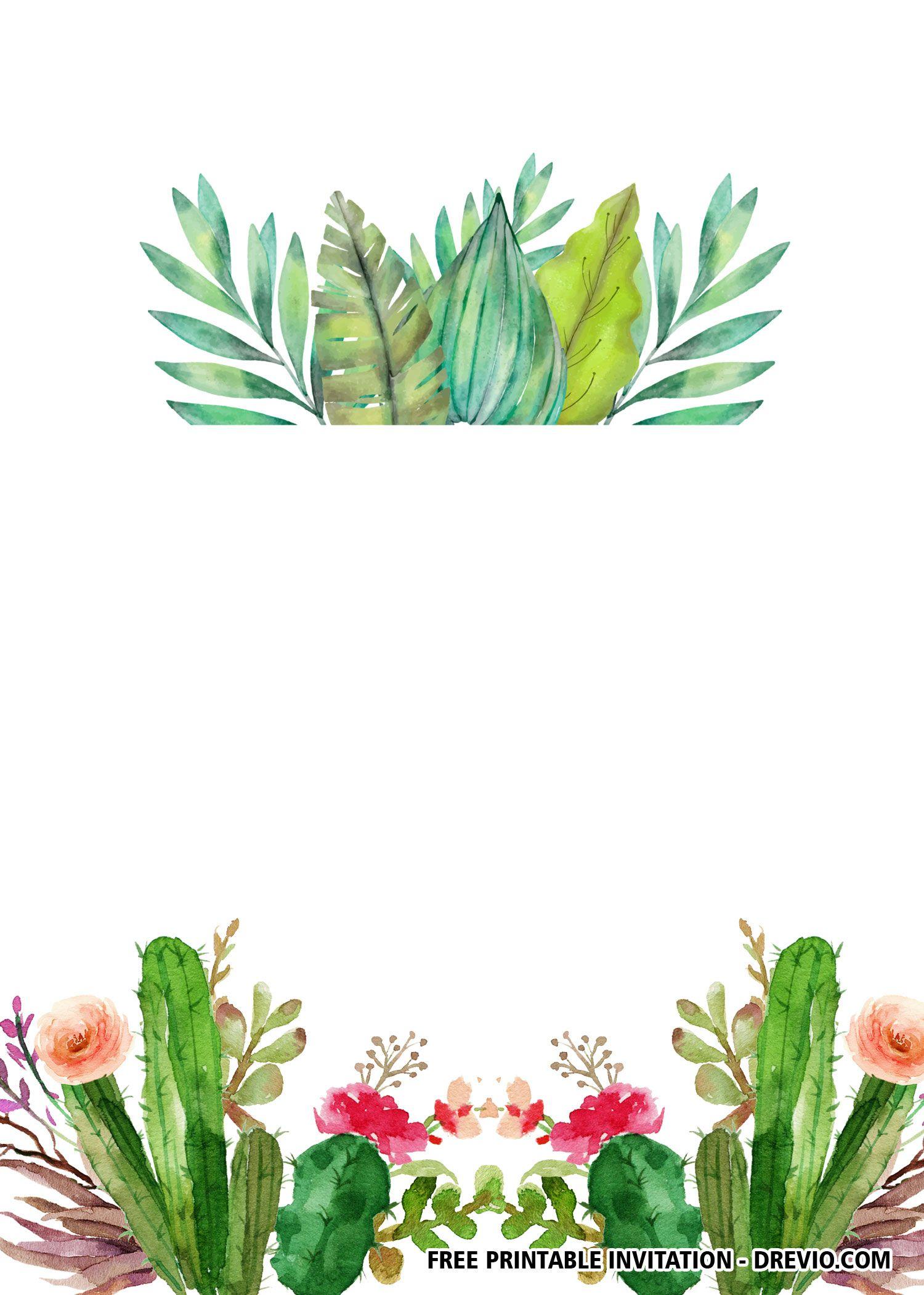 Free Printable Cactus Invitation Templates Cactus Invitation Cactus Printable Cactus Backgrounds