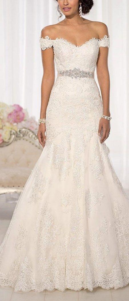 Elegant Off-Shoulder Crystal Lace Wedding Dress | wedding ...