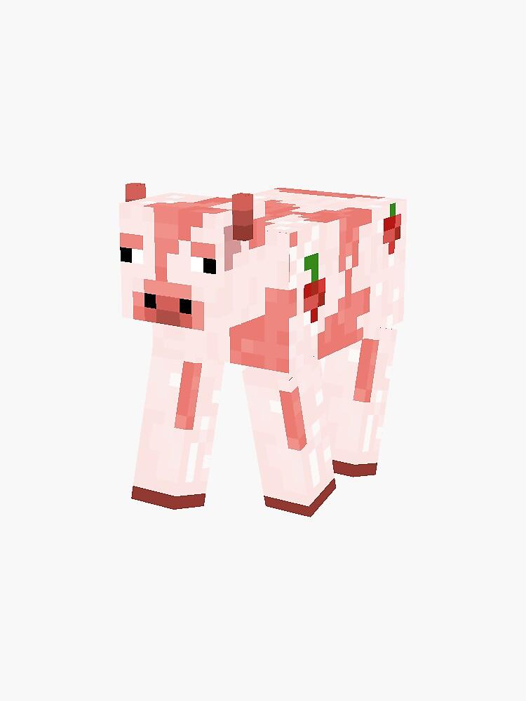 Minecraft Strawberry Cow Sticker By Ericaariana In 2021 Cute Minecraft Houses Minecraft Wallpaper Minecraft Banner Designs