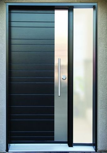 Grove wood door with stainless steel for Main door design for flat