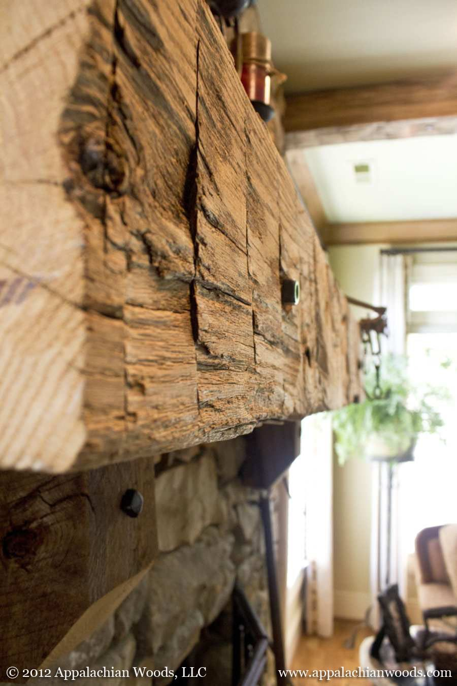 Reclaimed Hand Hewn Mantle