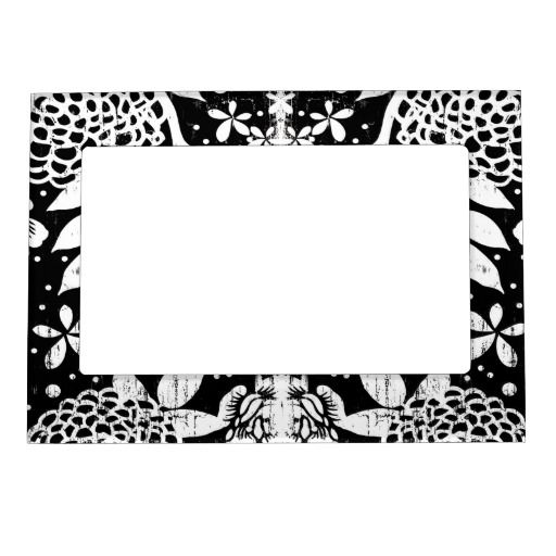 Black and White Floral Flowers 5x7 Magnetic Frame | Magnetic frames