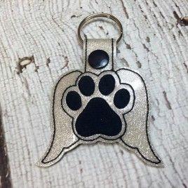 Angel Paw Print – PET LOSS – In The Hoop – Snap/Rivet Key Fob – DIGITAL Embroidery Design