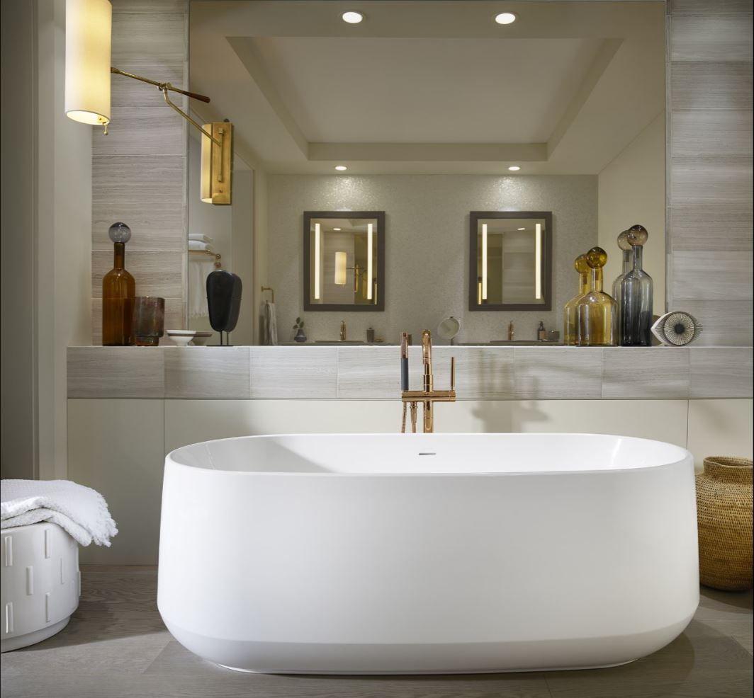 Purist Floor Mount Bath Filler Free Standing Bath Wood Bathroom