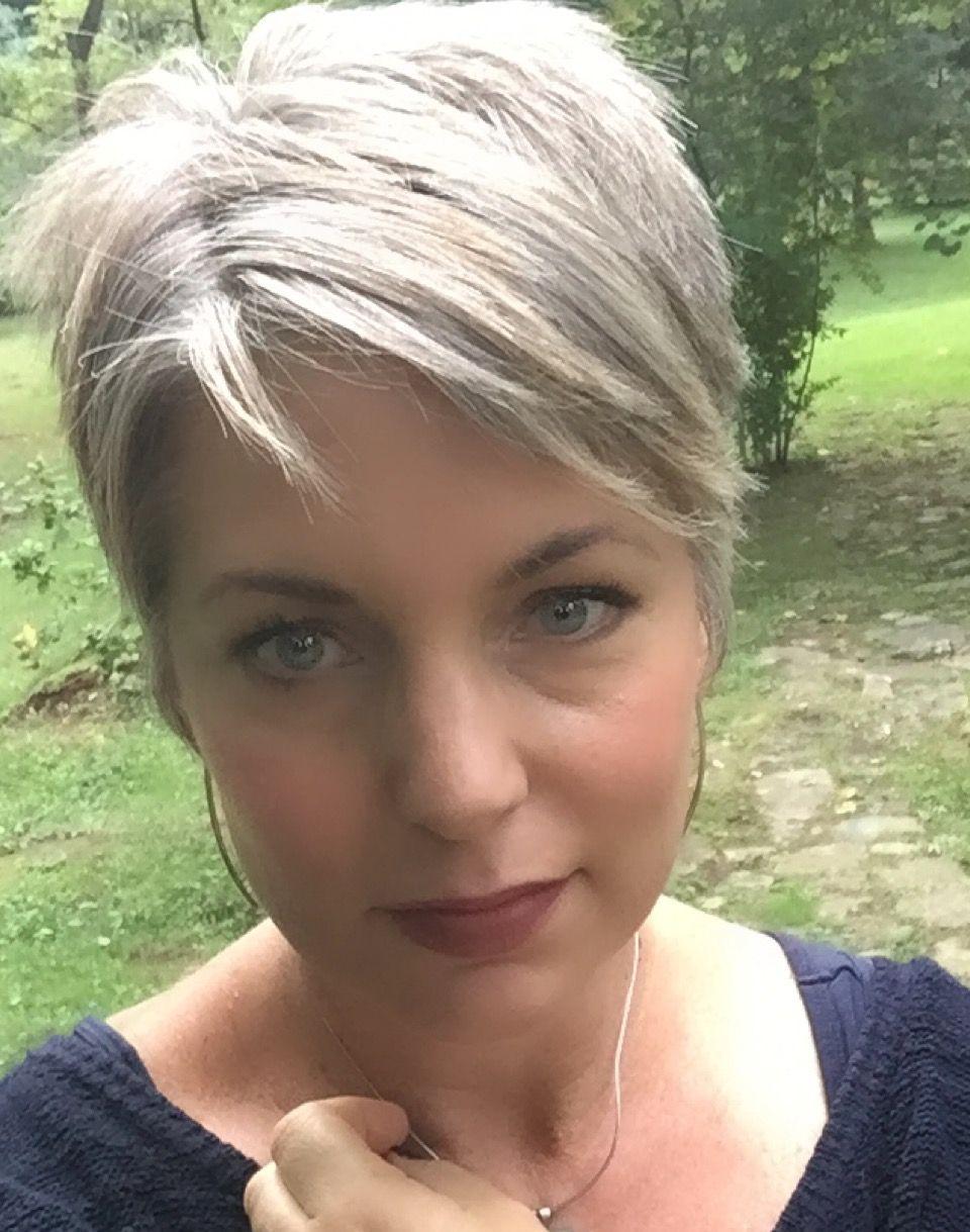 stephanie weisend - grey hair pixie, grey short haircut - | silver