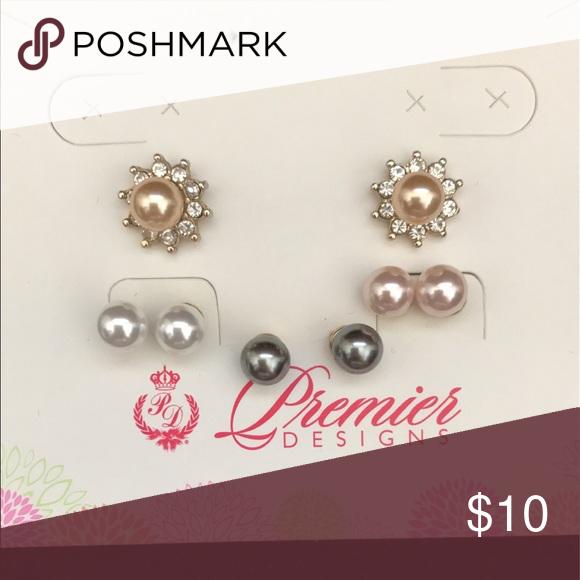 Premier Designs Earrings 4 Styles In All Versatile Faux Pearl With Jewel Pair Jewelry