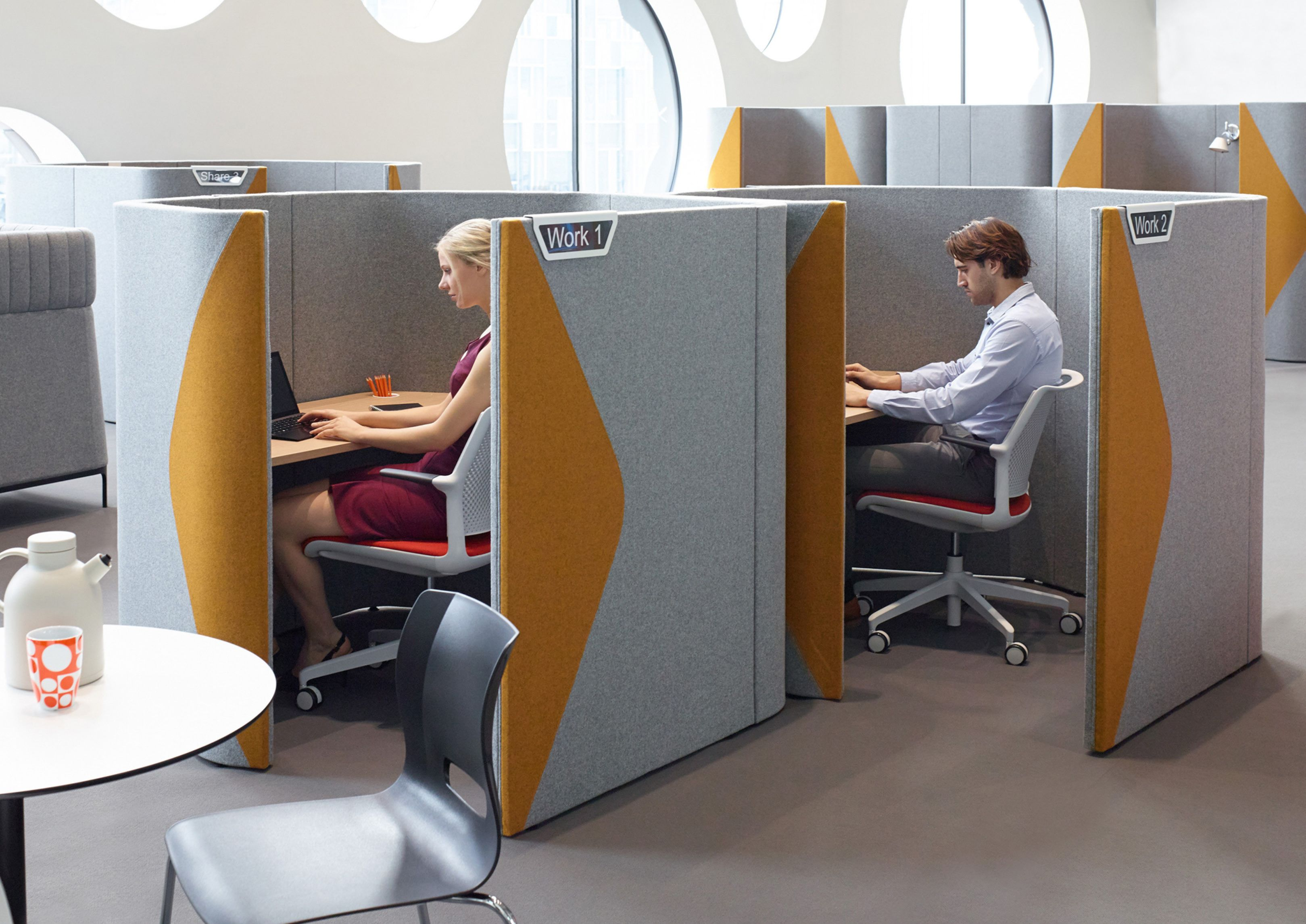 office privacy pods. office booths allow single or mutiple users to work meet with additional privacy. acoustic increase the sound absorbing properties of booth privacy pods