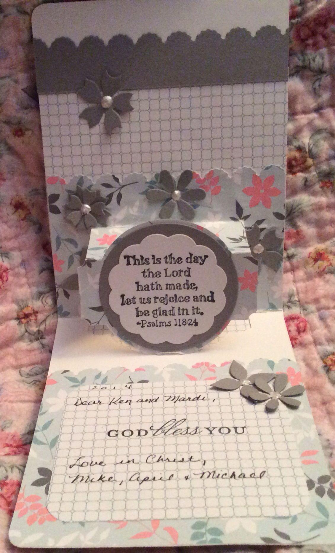 """""""Happy Anniversary"""" Part 2 of 2 Products: Sizzix Karen Burniston Pop-It-Ups Circle die; SU cardstock, ink, paper, stamp sets, die, pearls; Elizabeth Craft Flower dies; Spellbinders dies"""