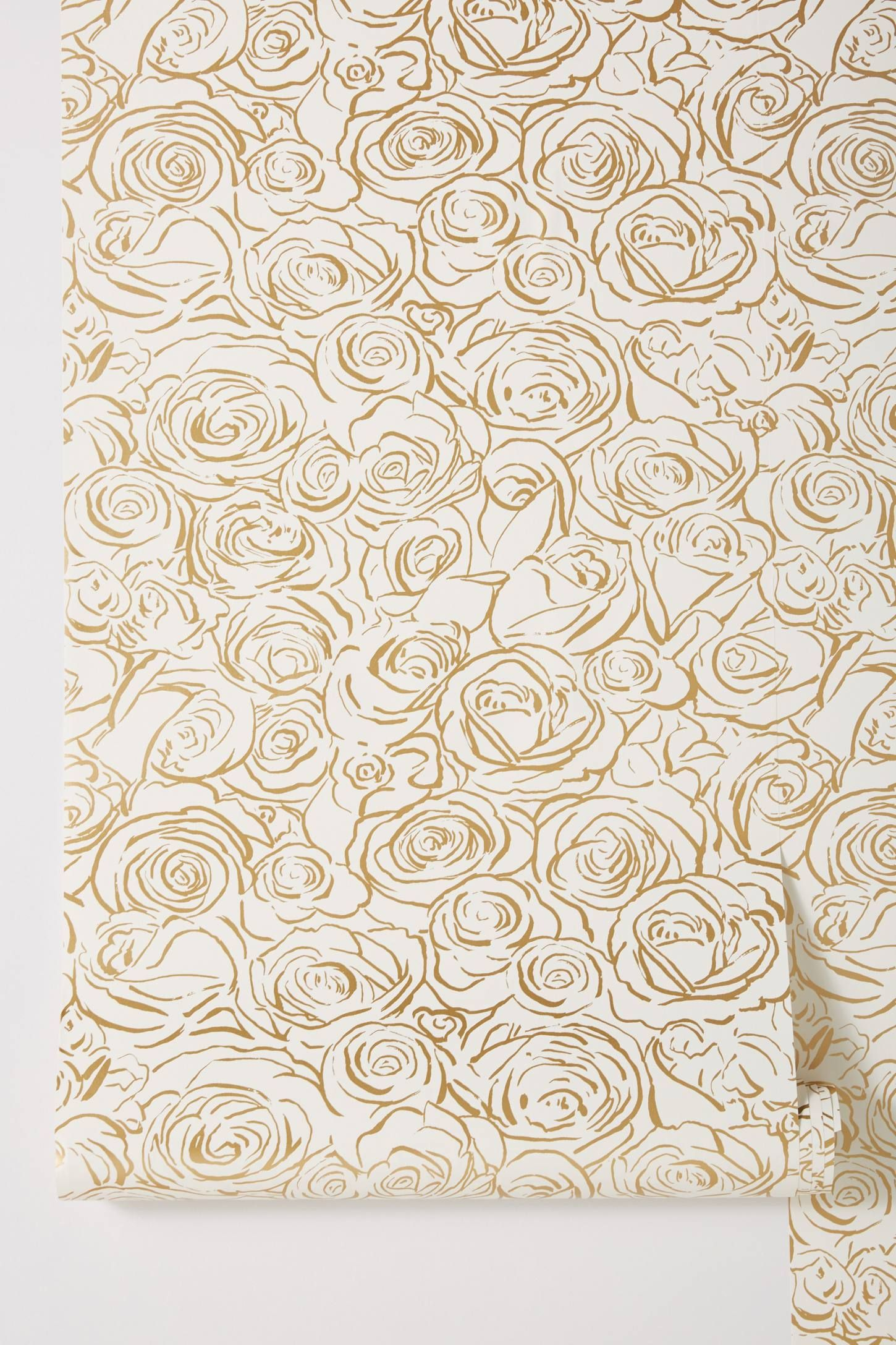 Golden Roses Wallpaper interior textiles Pinterest Rose