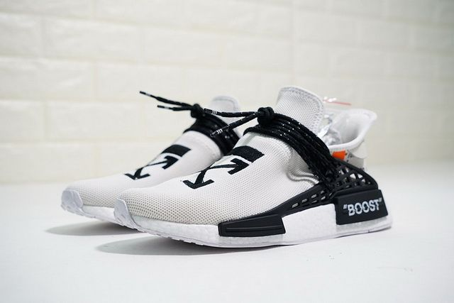 239277cb0 New Arrival OFF-WHITE x Pharrell x adidas NMD Hu Race Trail Black White  BB7725 Top Quality Hot Sale