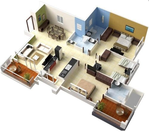 Hauspläne 3d  Contoh rencana ruang rumah 3 kamar tidur | denah kamar 3 | Pinterest