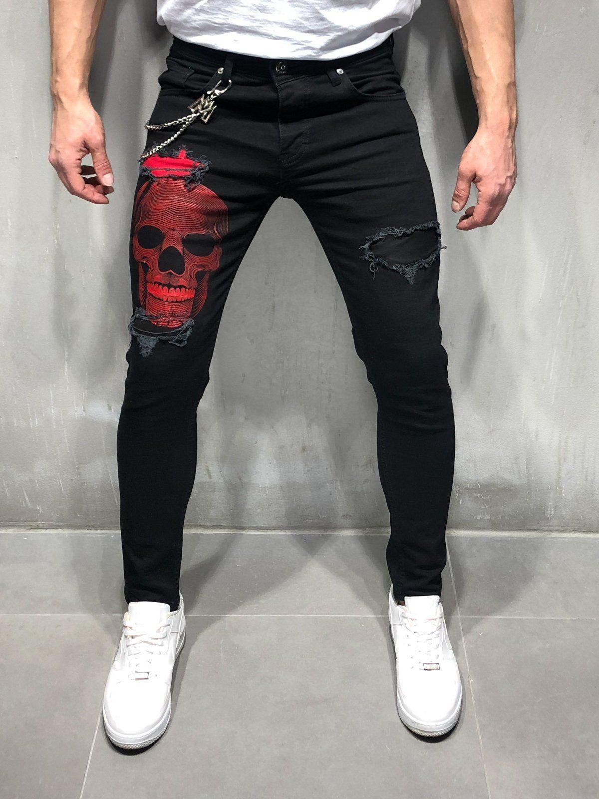 55bdb45a4 Black Jeans Red Skull Print in 2019 | haine | Denim jeans men, Black ...