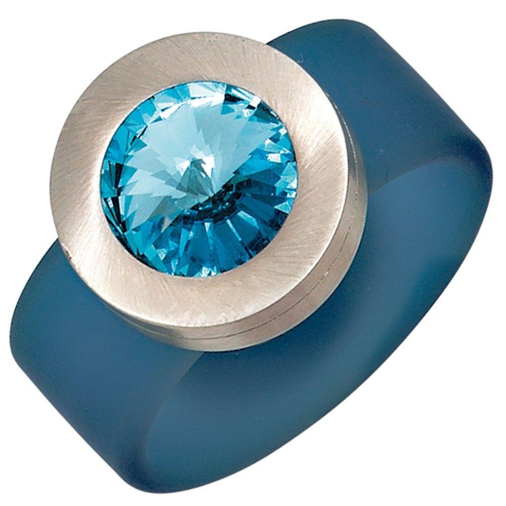 Damenring, PVC hellblau mit Edelstahl kombiniert, 1 Swarovski-Element (nur Weite 50 - 60), Breite ca. 15,8 mm, Tiefe ca. 10 mm $25.85